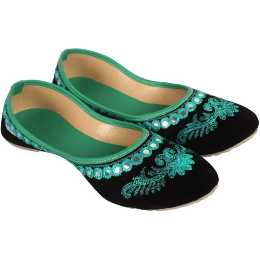 Rajwari Womens Green Color Designer Handmade Indian Fabric Traditional Shoes Purely Handcrafted Ethnic