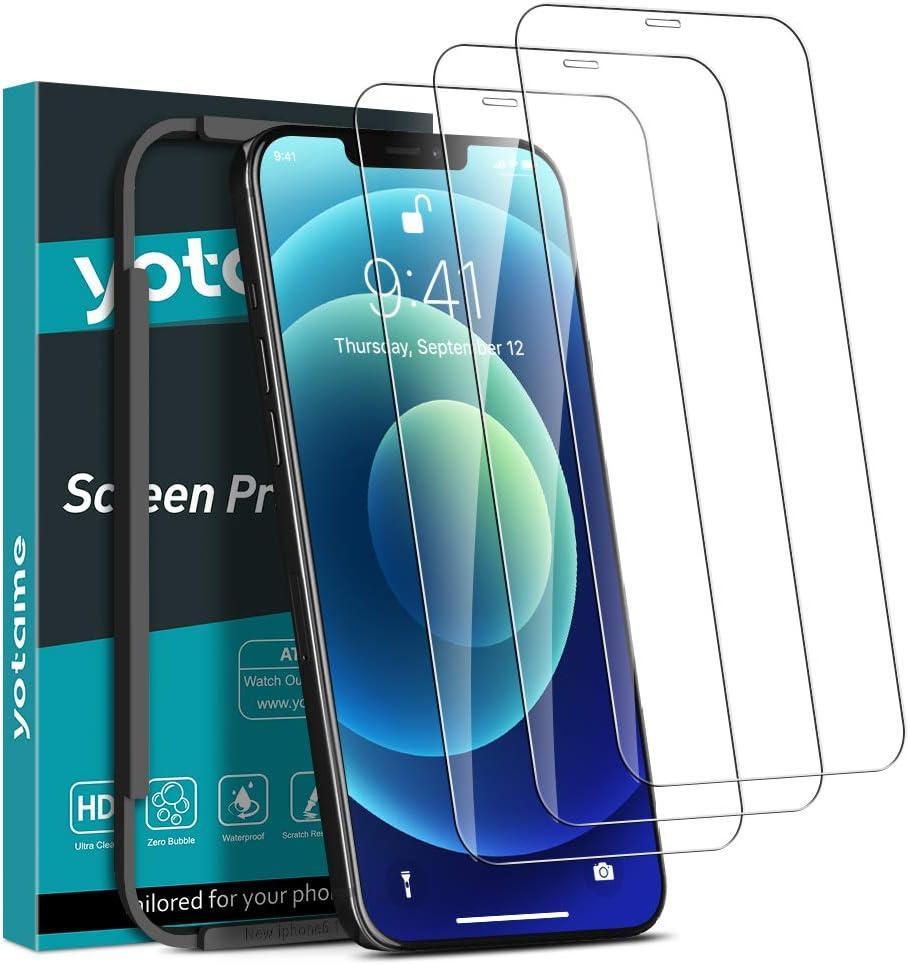 yotame [3 Piezas] Cobertura Completa Protector Pantalla para iPhone 12/ iPhone 12 Pro (6,1