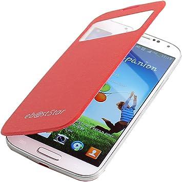 ebestStar - Funda Compatible con Samsung S4 Galaxy i9500 i9505 Carcasa Ventana Vista Cover, Cuero PU Funda Libro Billetera, Rojo [Aparato: 136.6 x 69.8 x 7.9mm, 5.0]: Amazon.es: Electrónica