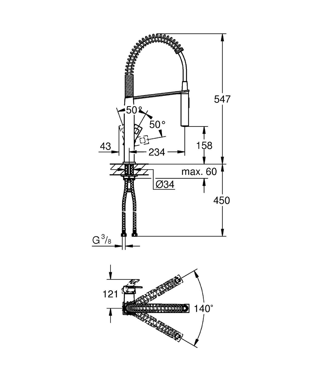 31395000 aireador extra/íble ca/ño giratorio 140/° cartucho de 28 mm conexiones flexibles Ref Grohe Grifo de cocina 1//2