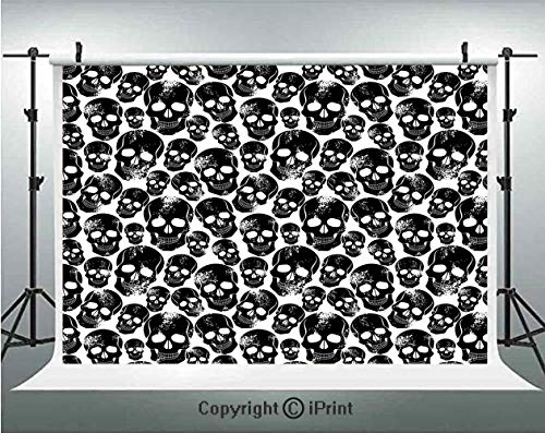 Gothic Photography Backdrops Grunge Black Human Skulls on White Backdrop Evil Men Fear Horror Death Skeleton Decorative,Birthday Party Background Customized Microfiber Photo Studio Props,5x3ft,Black W