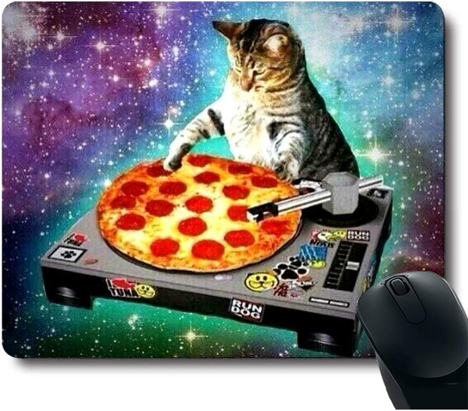 Mouse Pad Space Cat and Pizza Rectangle Mousepad Non-Slip Rubber Gaming Mouse Pad Rectangle Mouse Pads for Computers Laptop - 9.8(L)x 11.8(W) inch