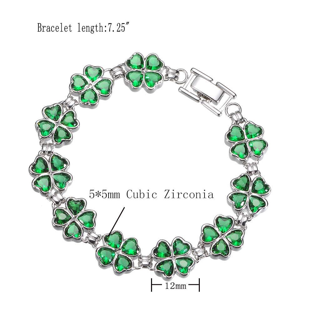 KIVN Fashion Jewelry CZ Irish Shamrock Four Leaf Clover Wedding Bridal Bracelets for Women