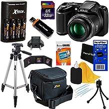 Nikon Coolpix L340Cámara digital con zoom 28x & Vídeo Full HD (Negro) versión internacional + 4pilas AA y cargador + 32GB Dlx Kit de accesorios w/herofiber paño de limpieza