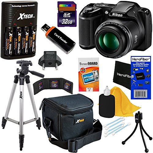 Nikon COOLPIX L340 Digital Camera with 28x Zoom & Full HD Video (Black) International Version + 4 AA Batteries & Charger + 32GB Dlx Accessory Kit w/HeroFiber Cleaning Cloth (Tv Shoot Point And)