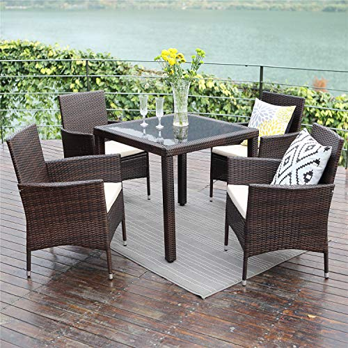 Wisteria Lane Outdoor Patio Dining Table Set, 5 Piece Glassed Dining Table Chairs Sectional Furniture Conversation Set Cushioned Garden Lawn Bar Furniture,Brown (Set 5 Dining Outdoor Piece Wicker)