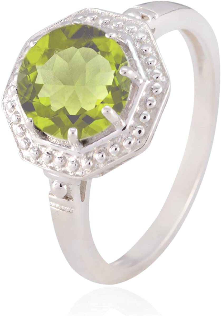 Handmade Jewelry Great Selling Shops Gift Birthstone Ring Solid Silver Green Peridot Good Gemstones Ring Good Gemstones Round Faceted Peridot Ring