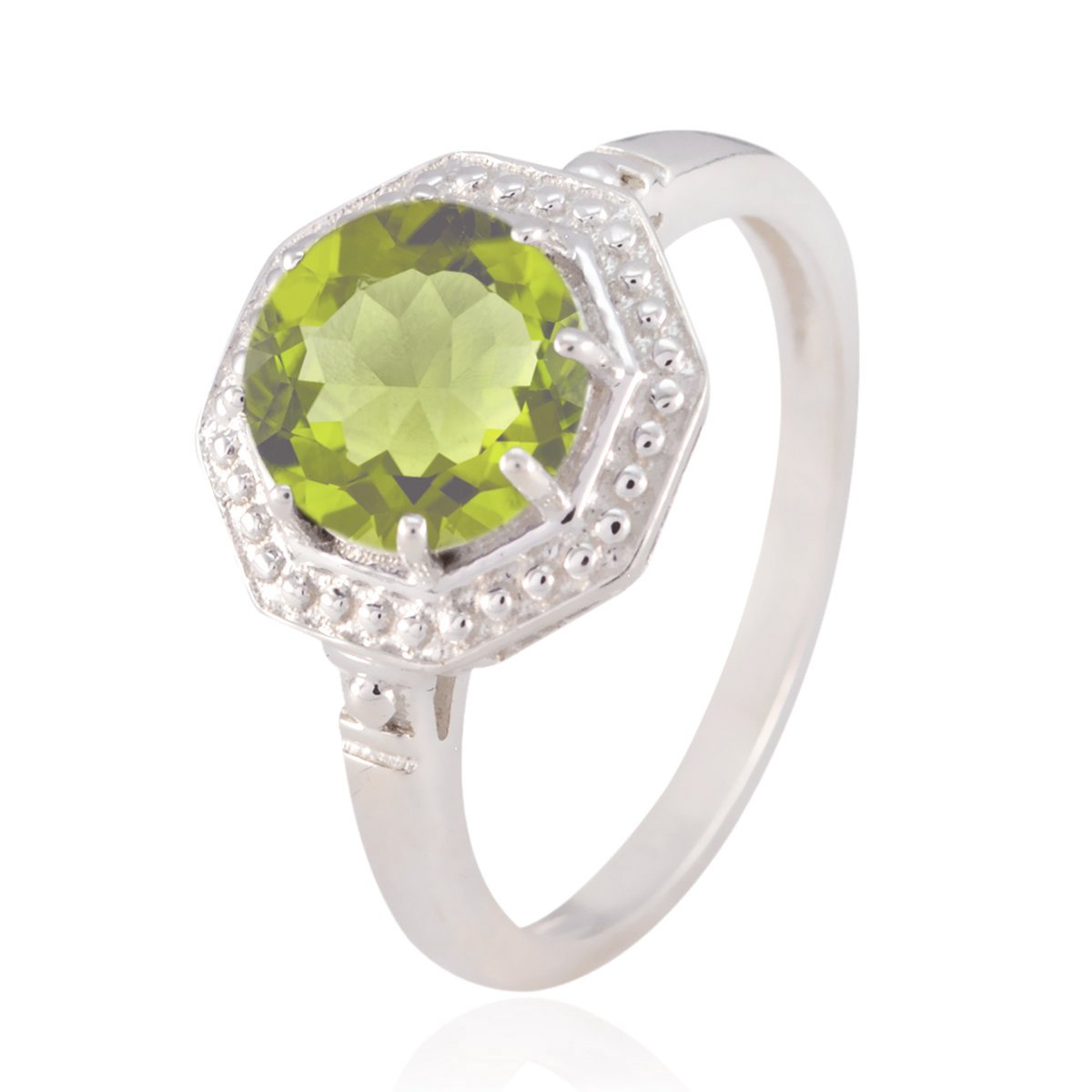 Handmade Jewelry Great Selling Shops Gift Birthstone Ring Good Gemstones Round Faceted Peridot Ring Solid Silver Green Peridot Good Gemstones Ring