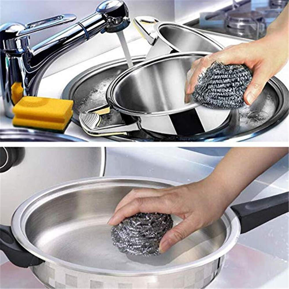 Compra 5 pedazos de esponja de acero inoxidable fregadora de electrodomésticos extra grande, almohadilla de metal, cepillo de acero inoxidable, ...