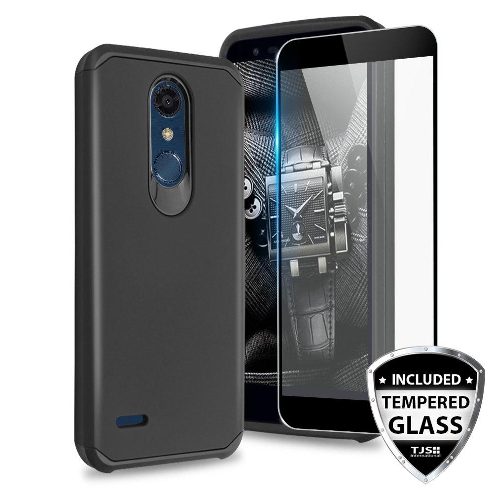 TJS LG K10 2018 / LG K30/ LG Premier Pro LTE/LG Harmony 2 / LG Phoenix Plus Case [Tempered Glass Screen Protector] Dual Layer Hybrid Shockproof Drop Protection Impact Rugged Phone Case Cover (Black)