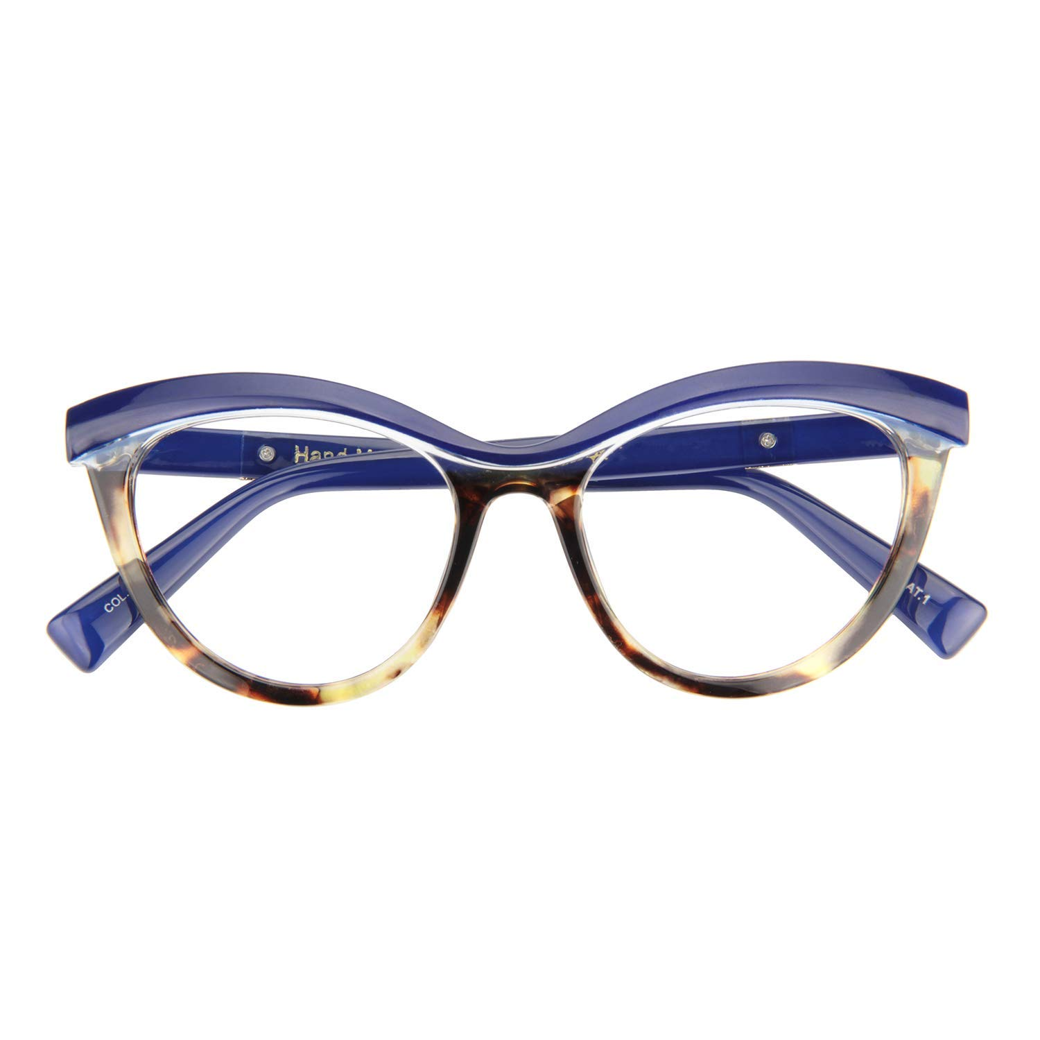 2e04aab239d4 Amazon.com: Zeelool Women's Oversized Browline Cat Eye Glasses Frame with  Clear Lens Sean FP0124-02 Blue: Clothing