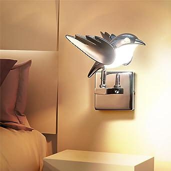 Moderno LED Lámpara de Pared 3w Calentar Aplique de Pared Creativo Lámpara para Niños Metal Volador Aves Lámpara de noche Iluminación de pared por Corredor Escalera Cuarto de los Niños Comedor: Amazon.es: