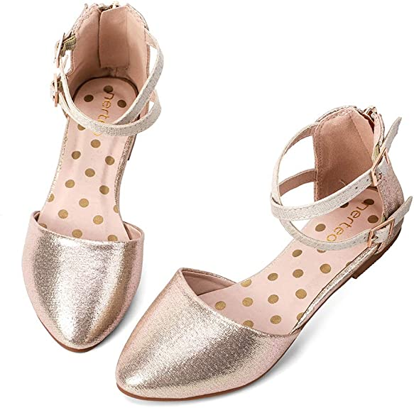 nerteo Girl's Pretty Glitter Ballet Flats Ankle Strap Dress Shoes Sandals (Toddler/Little Kid/Big Kid) Gold 10 M US Toddler best girls' spring dress shoes