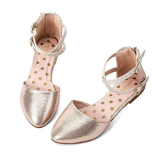 84c60014ecf17 nerteo Girl's Pretty Glitter Ballet Flats Ankle Strap Dress Shoes Sandals  (Toddler/Little Kid/Big Kid)