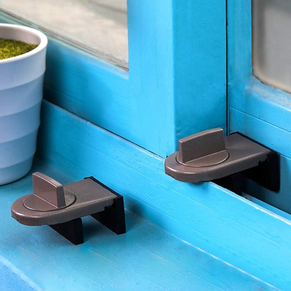 VALUEU Cuña Ajustable del tapón de la Cerradura de la Ventana de la Puerta con el Interruptor Giratorio para la Seguridad de los niños