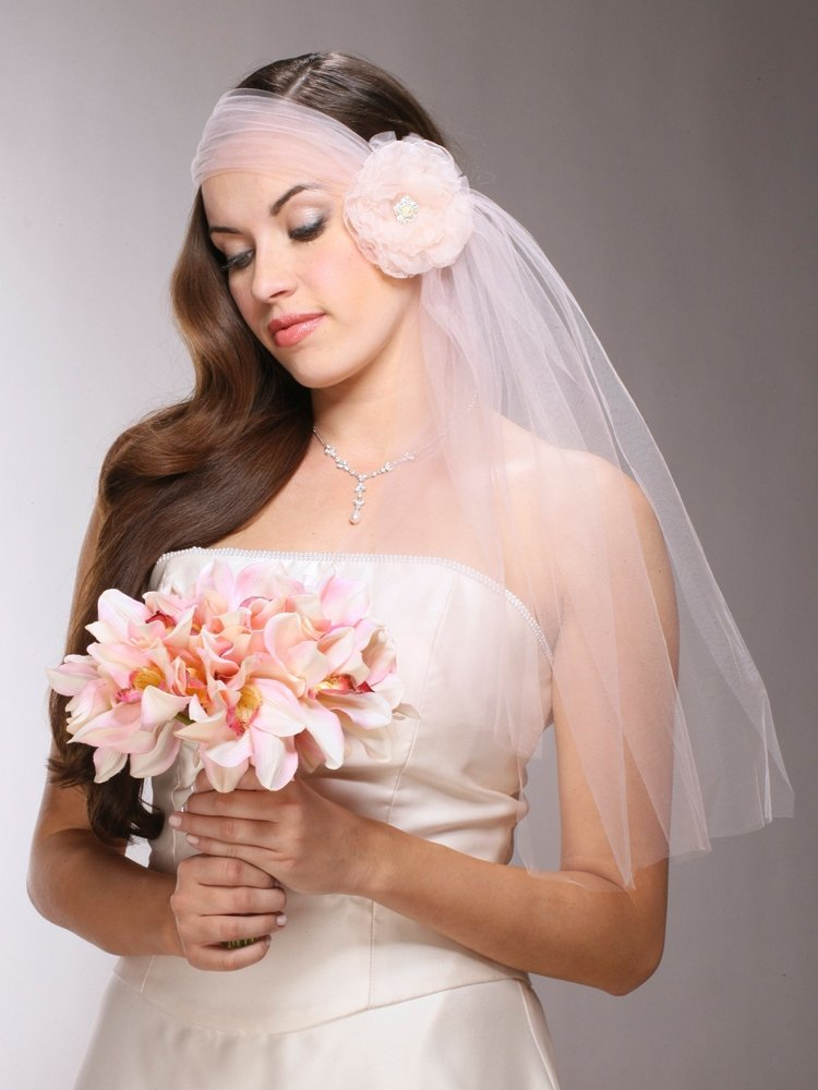 Haute Couture Headband-Style Tulle Bridal Veil with Organza Flower & Pearl Center - Blush