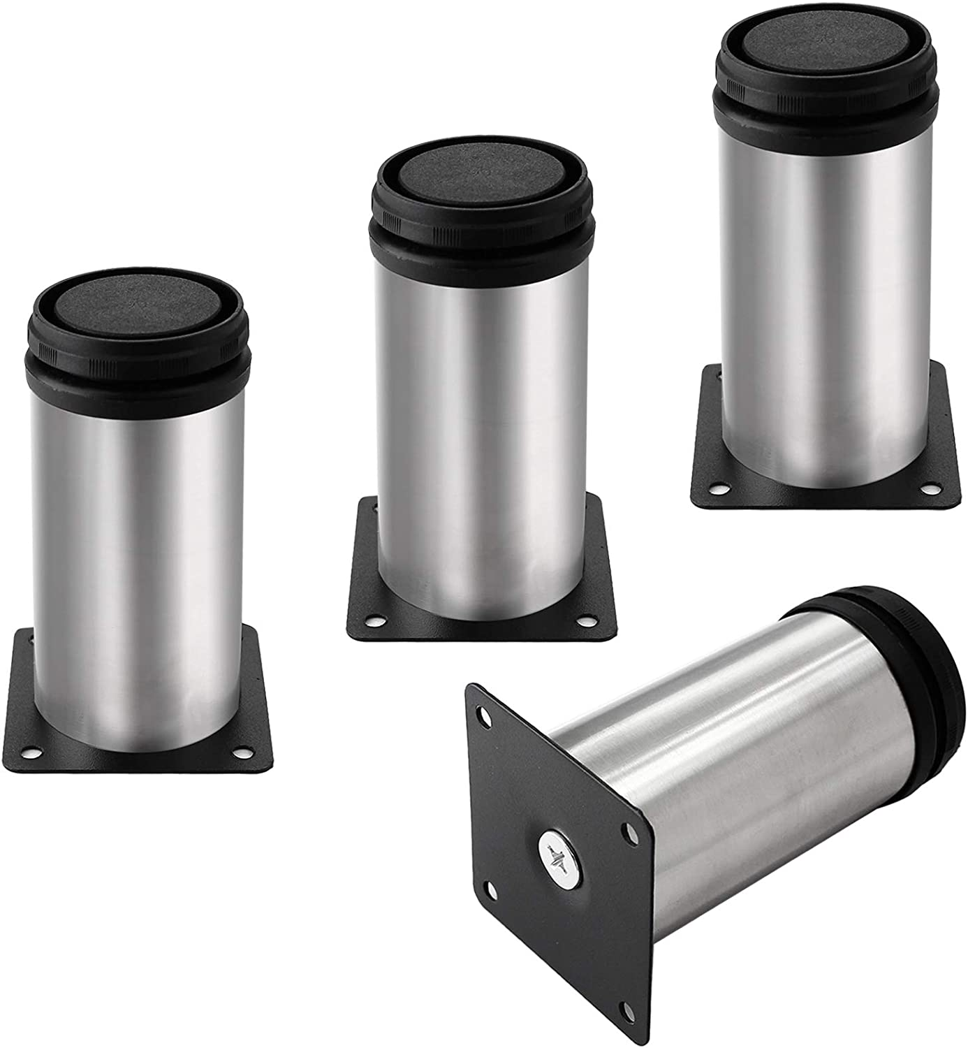 Kyuionty Set of 4 Stainless Steel Furniture Legs 4 Inch, Adjustable Round Cabinet Legs 2