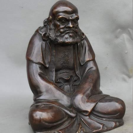 Chinese Brass Carved Arhat Damo Bodhidharma Dharma Buddha Statue
