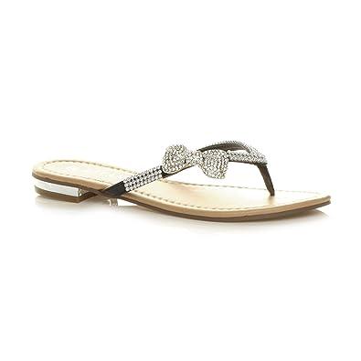 4112f36899e6 Ajvani Womens ladies diamante bow metallic heel beach evening flip flop  sandal size 5 38 Black
