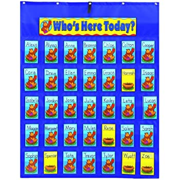 Amazon.com : Learning Resources Attendance Pocket Chart, Blue ...