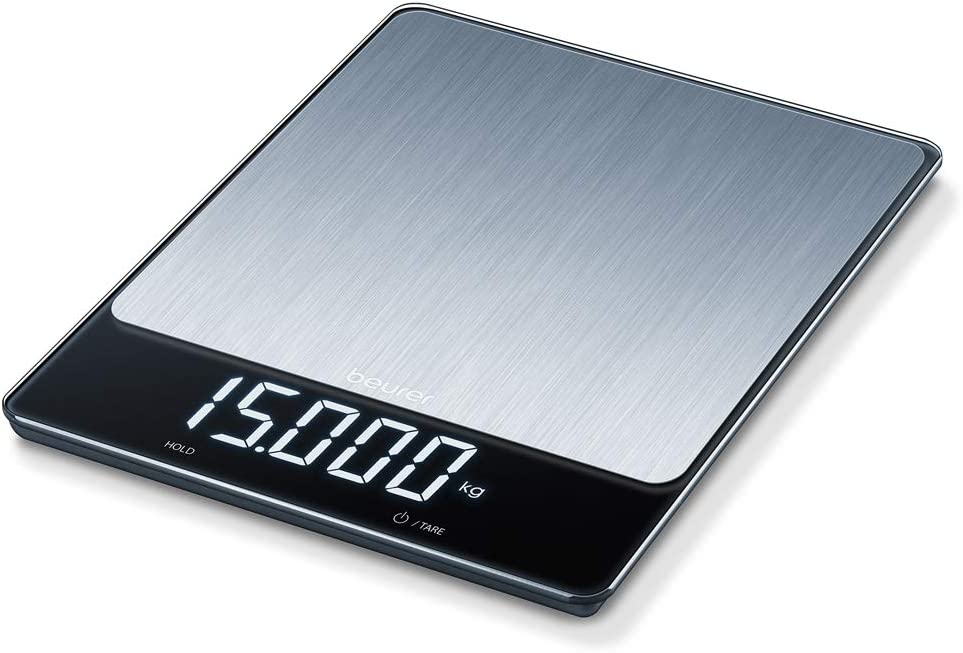 Beurer KS 34 XL Stainless Steel Kitchen Scales for Accurate Weight up to 15 kg with Convenient Tare Function and Hold Function and Magic LED Display