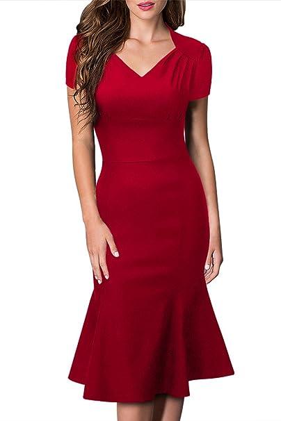 Babyonlinedress - Vestido - Vestidos - Básico - Manga corta - para mujer rojo XXL