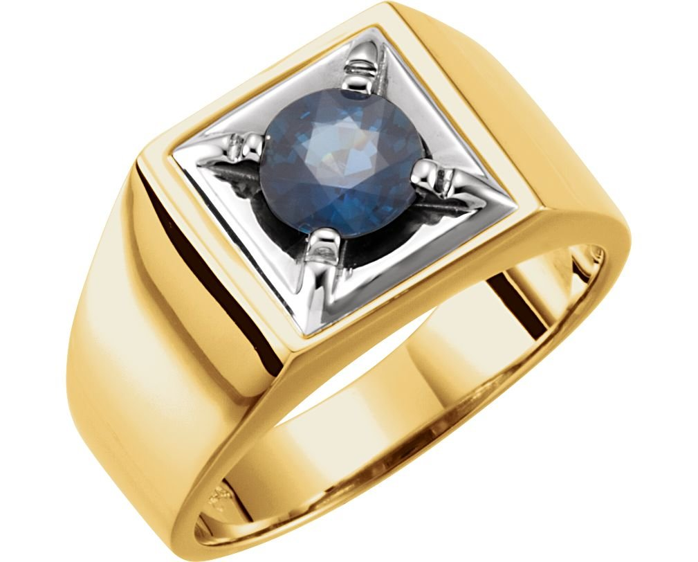 Men's Blue Sapphire Flat Top Ring, 14k Yellow Gold and Rhodium-Plated 14k White Gold, Size 9.25