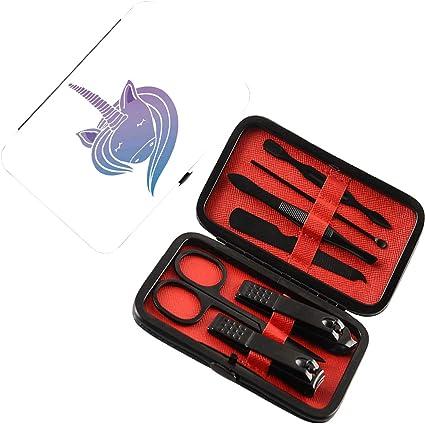 Cortaúñas 7 piezas Juego de manicura y pedicura Unicornio Kit de aseo de uñas de acero