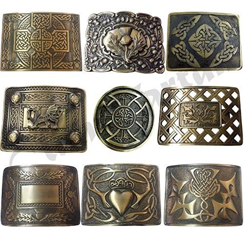 Scottish Kilt Belt Buckle Antique Finish Various Design Swirl Celtic Knot Buckles Highland - Belt Buckle Finish Antique
