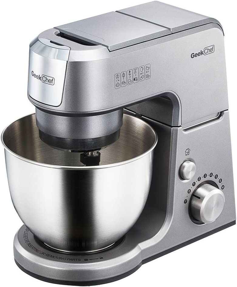 Geek Chef Mini 4-in-1 Stand Mixer: Multi-function, 2.6 Quart Stainless Steel Bowl, 7 Speeds with pulse, Die-cast Tilt Head. Includes Pouring Shield, Beater, Whisk and Dough Hook (Silver).