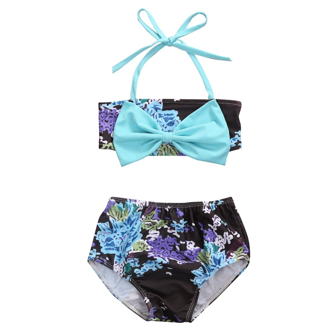 honeys Infant Baby Girls Swimsuit Floral Blue Bowknot Bikini Set Strap Top+Shorts