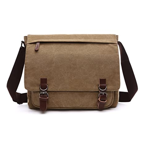 d70665201e79 Amazon.com  Sechunk Canvas Leather Messenger Bag Shoulder bag Cross body bag  Crossbody small for men boy girl student school (khaki