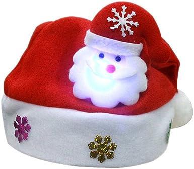 LuckyGirls Niños LED Sombrero de Navidad Papá Noel Reno Muñeco de ...