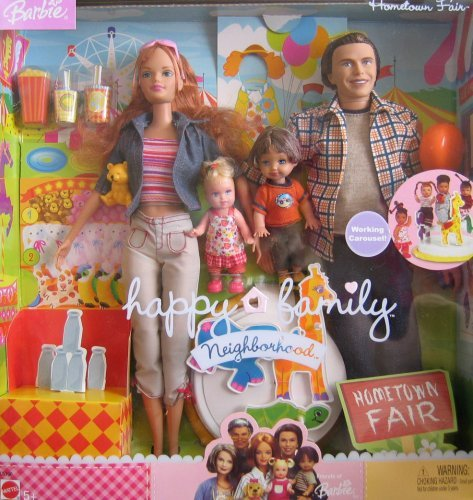Barbie Happy Family Neighborhood HOMETOWN FAIR 4 Doll Set w Working Carousel (2003)