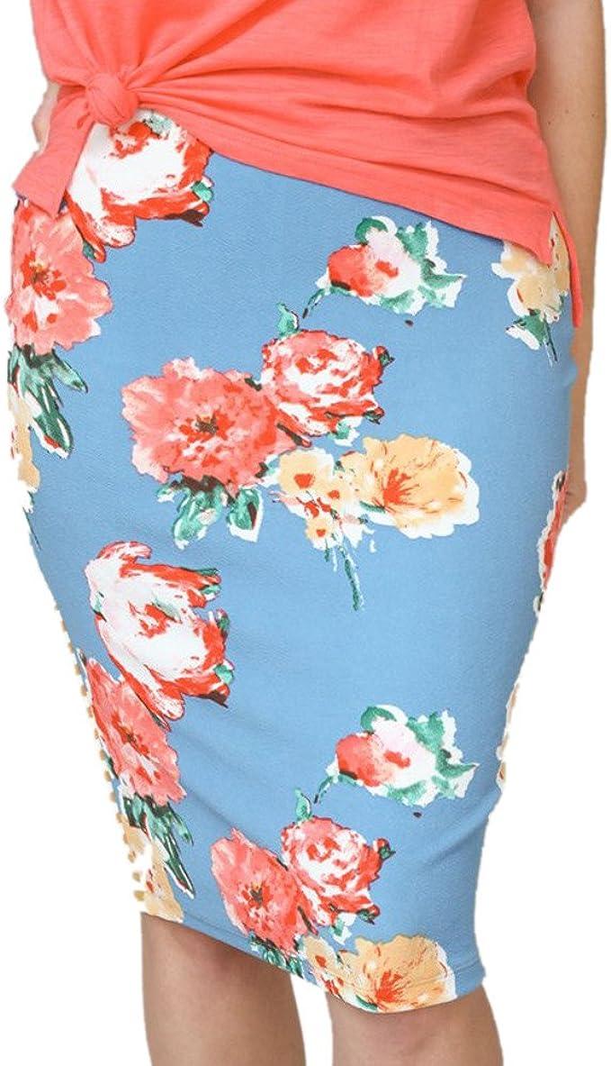 Faldas de Cintura Alta para Mujer, Rayas de Moda Floral Color ...