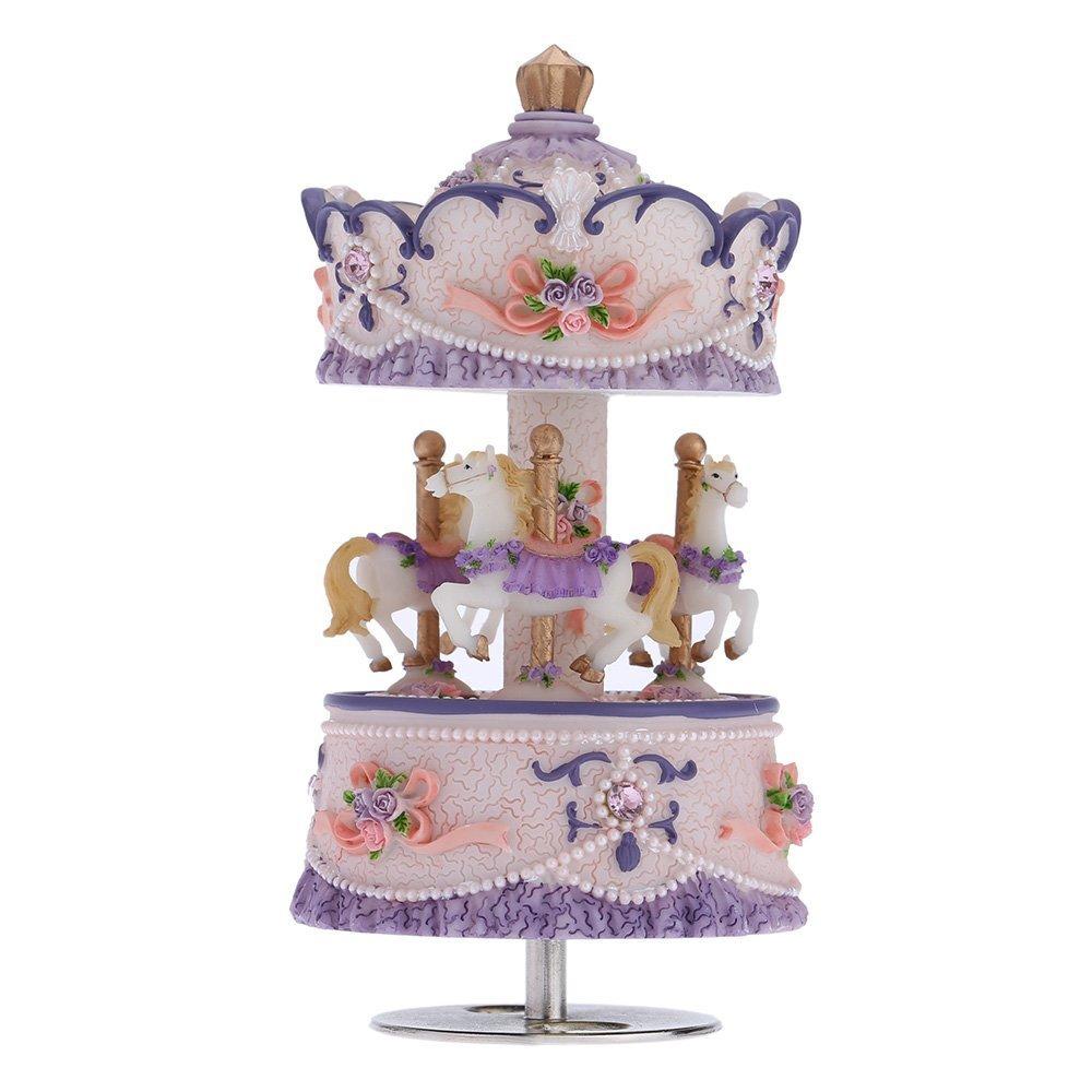 Andoer® Laxury Windup 3-cavallo del Carosello Music Box Creativo Artware / regali Castello Melody nel Cielo Rosa / Viola / Azzurro / Oro Ombra per L'opzione GGL1574218467392DD