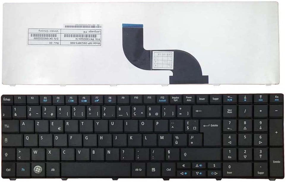 Keyboards4Laptops French Layout Black Laptop Keyboard Compatible with Acer Aspire E1-571-6472, Acer Aspire E1-571-6481, Acer Aspire E1-571-6490, Acer Aspire E1-571-6650, Acer Aspire E1-571-6659