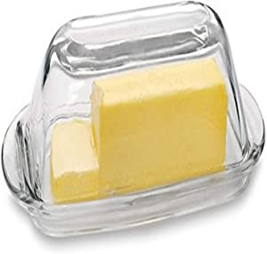 Circleware Glass Butter Dish with Lid, Multi-Purpose Preserving Serving Dessert Tray Bowl Home & Kitchen Glassware for Cream Cheese Cake, Salad, Candy, Foods, Gift, 7.5