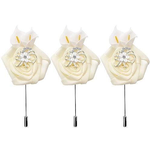 Amazon com: RareLove 3pcs Begie Lily Flower Ribbon Lapel Pin
