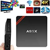 Mercu 4K Android 6.0 NEXBOX A95X Amlogic S905X Quad Core Cortex A53 2.0GHz 64bit Mini PC Pre-installed 1GB/8GB 1080P Small and Smart Beats MXQ Pro TV Box with Learning Remote
