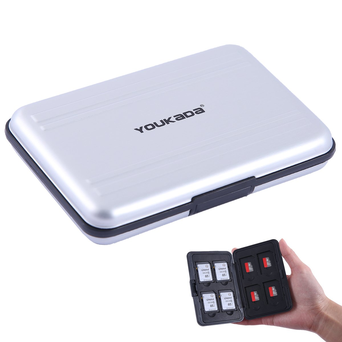 YOUKaDa Metal Memory Card Case SD Card Holder Water-Resistant Pocket-Sized SD Holder for 8 SD Cards & 8 Micro SD Cards (Silver)