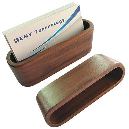 2 pack business card display holder brown walnut wood card case for desk desktop - Business Card Display Holder