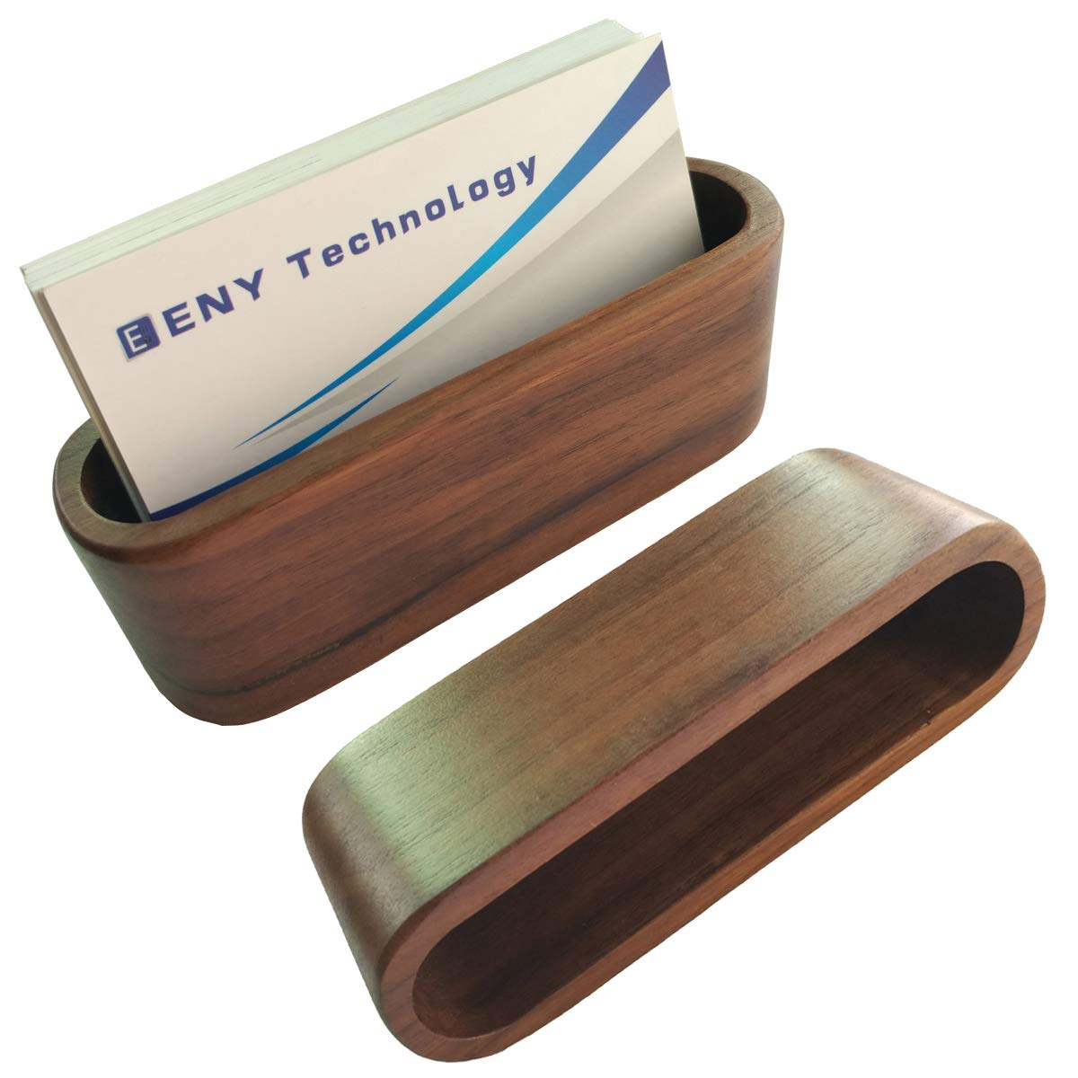 2 Pack Business Card Display Holder, Brown Walnut Wood Card Case for desk desktop, wooden Name Card Stand for Office, Name Card Holder for Tables Organizer index card filing