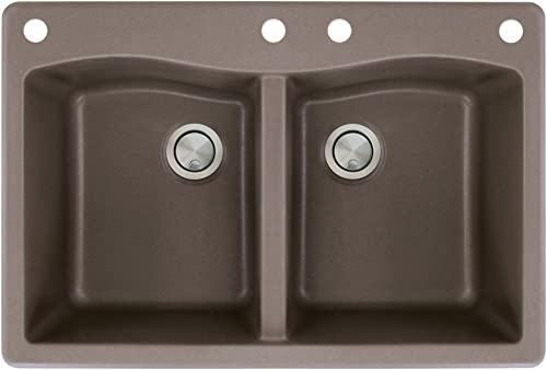 Transolid ATDE3322-12-CADE Aversa Granite 4-Hole Drop-in Double-Bowl Kitchen Sink, 33-in L x 22-in W x 9-in H, Espresso