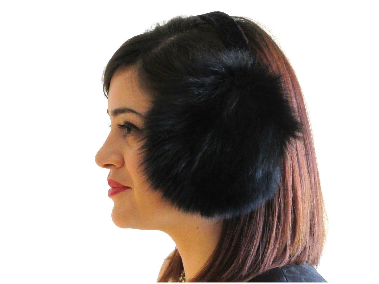 Dyed Black Fox Ear Muffs by FursNewYork