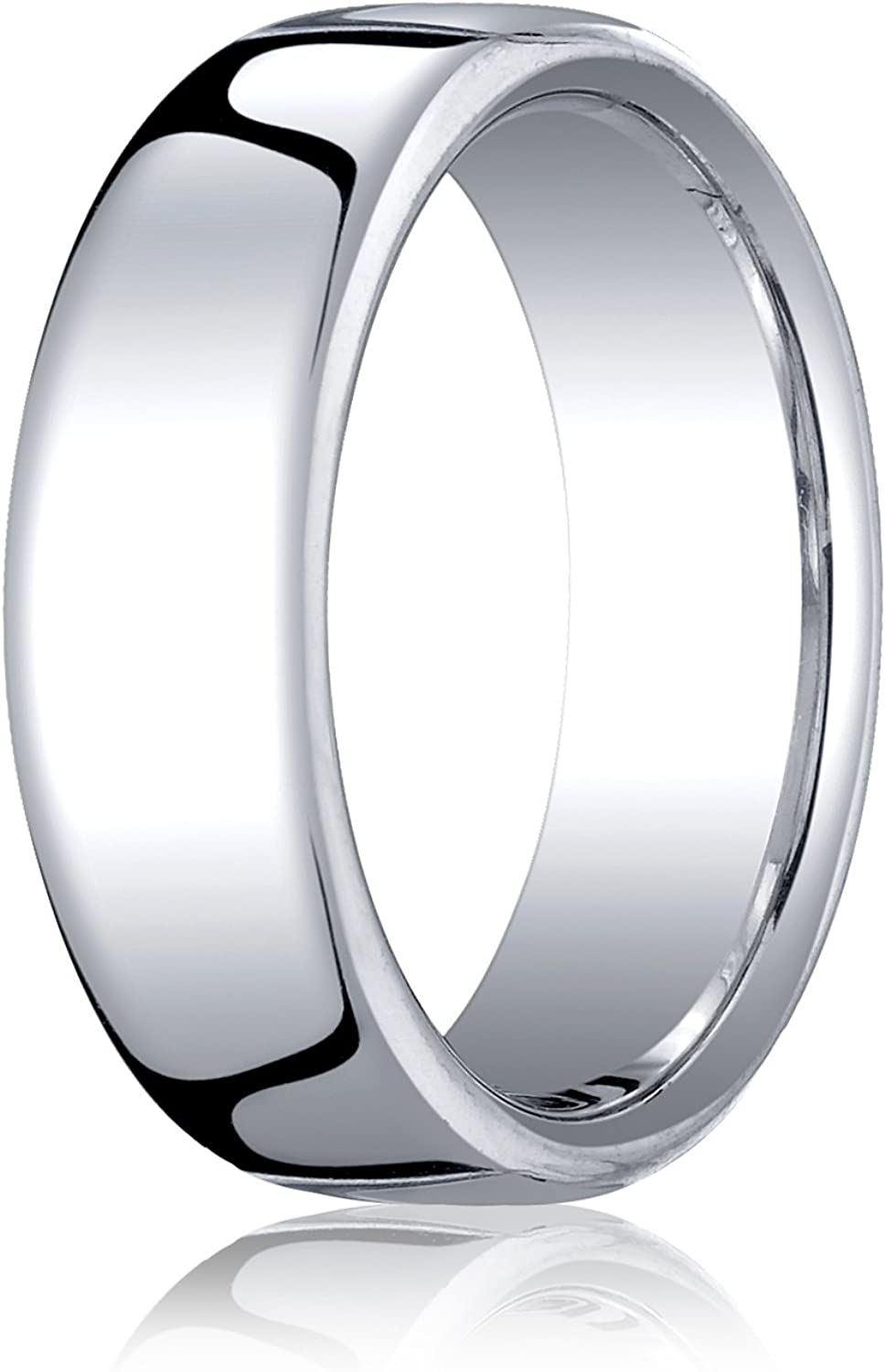 Mens 10K White Gold 7.5mm London Couture Comfort Fit Wedding Band Ring
