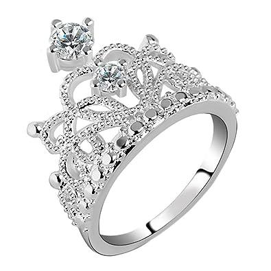 Widewinguk Crystal Bridal Ring Princess Crown Engagement