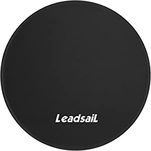 LeadsaiL [30% Larger] Mouse Pad with Stitched Edge Premium-Textured Mouse Mat Waterproof Non-Slip Rubber Base Round Mousepad for Laptop Computer PC Office 9.8×9.8×0.12 inches (Black)