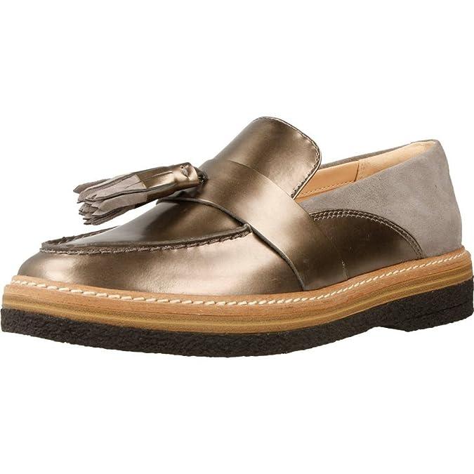Mocasines para Mujer, Color Plateado, Marca CLARKS, Modelo Mocasines para Mujer CLARKS Zante Spring Plateado: Amazon.es: Zapatos y complementos