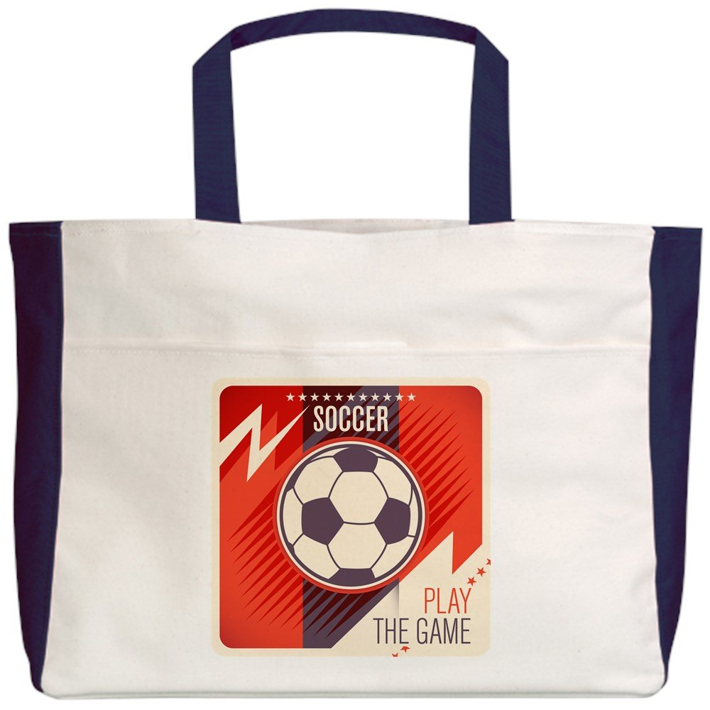 Soccer Football Play The Game Red Royal Lion Beach Tote 2-Sided